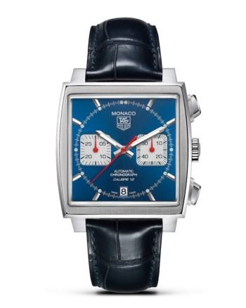 "Tag Heuer ""Monaco"" Square Watch with Alligator Strap, 39mm"