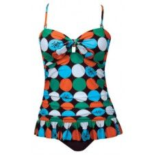 MOD DOT SLIMMING SHIRRED LONG RUFFLE TANKINI SWIMSUIT
