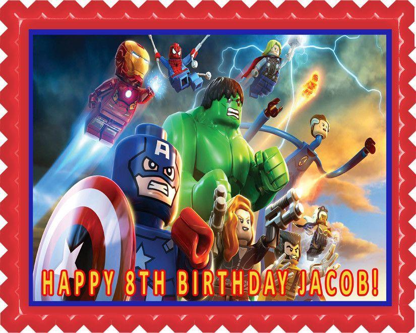 Lego Marvel Superheroes Edible Birthday Cake Topper Or Cupcake