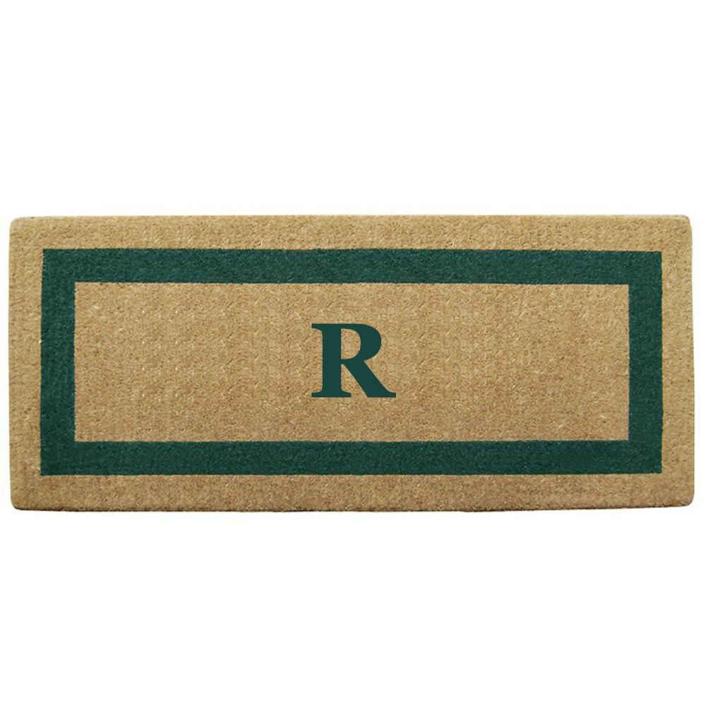 Single Picture Frame Green 24 in. x 57 in. Heavy Duty Coir Monogrammed R Door Mat, Green/Brush