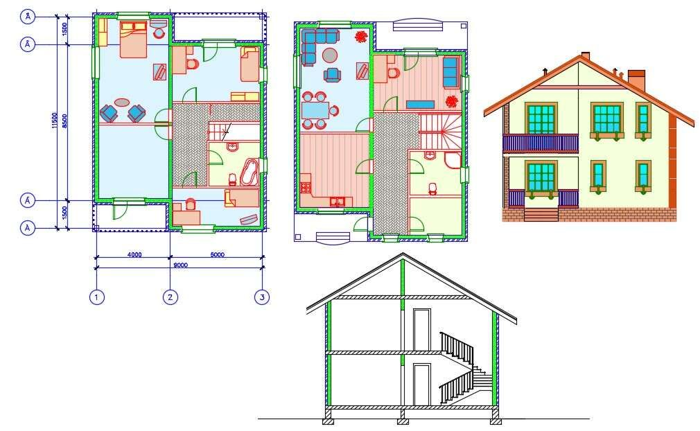 2 Storey House Floor Plan With House Building Front