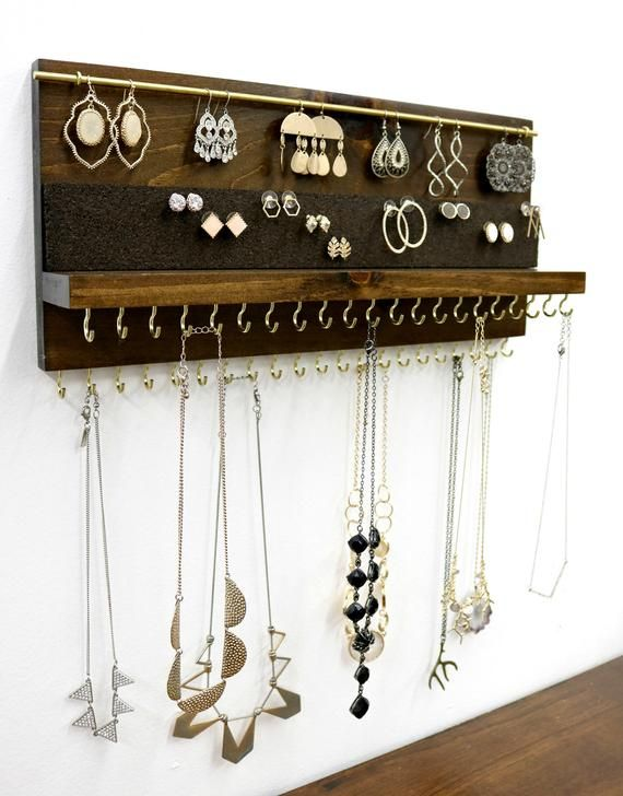 Jewelry Organizer With Shelf | Double Necklace Holder | Stud Earring and Dangle Earring Holder