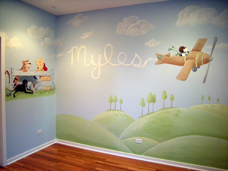 Snoopy And Winnie The Pooh Baby Room Wall Mural