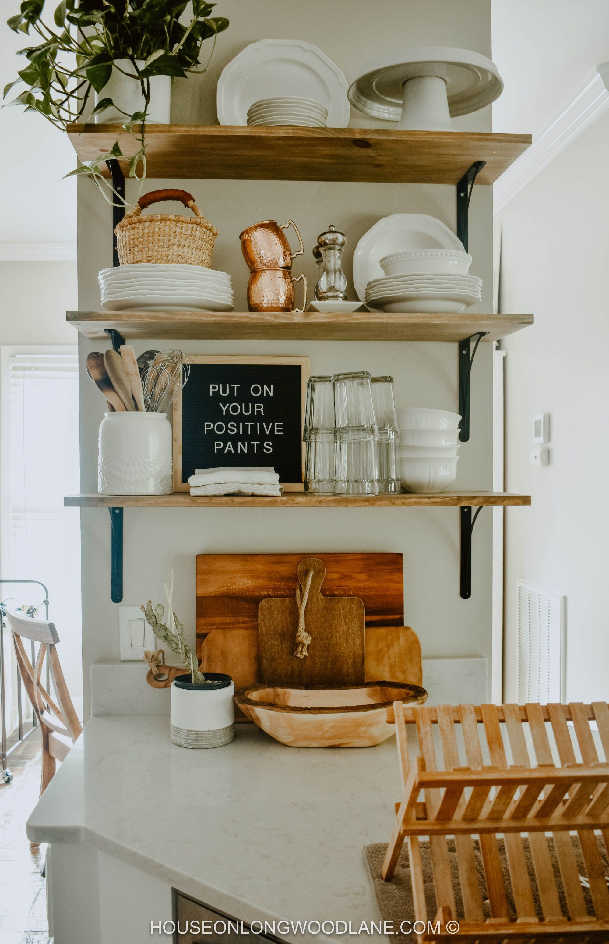 Beautiful Open Kitchen Shelving Stylings Gorgeous Copper Accents