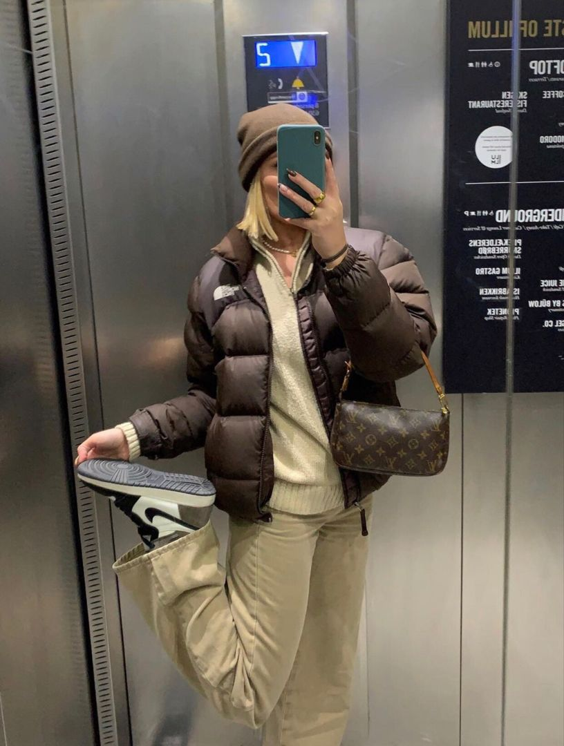 Brown Puffer Jacket North Face Jacket Outfit North Face Puffer Jacket North Face Outfits [ 1080 x 816 Pixel ]