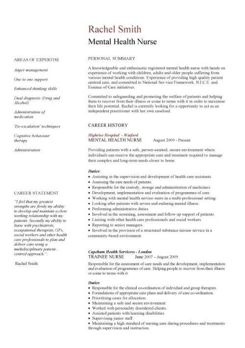 resume format for nurse job