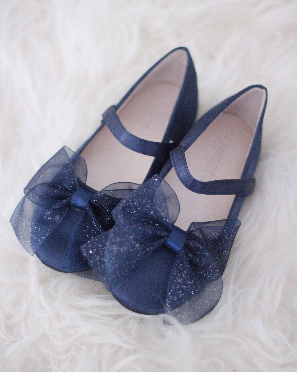 381bf5ea479 Girls navy satin shoes maryjane flats with glitter chiffon bow ...
