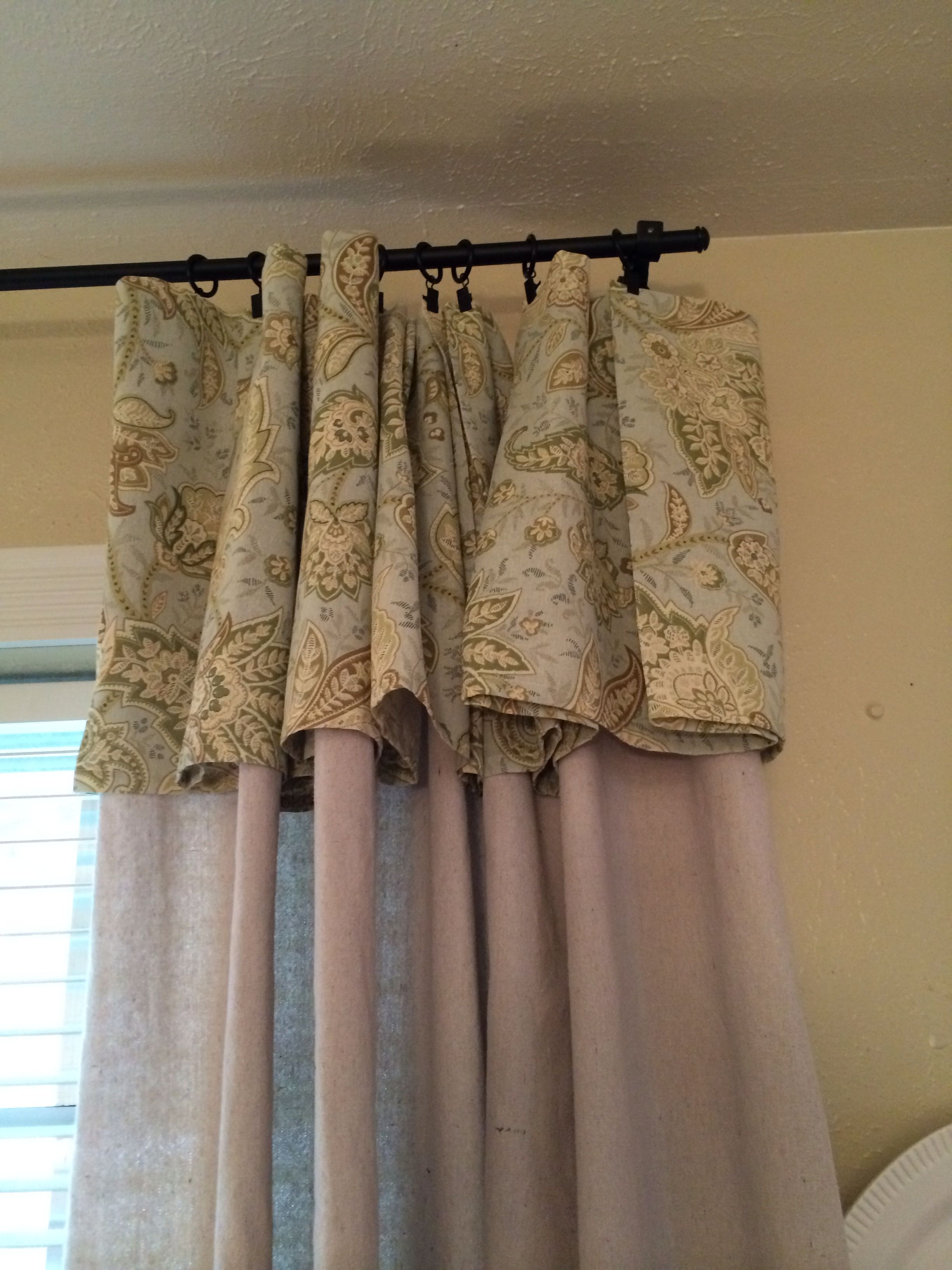 Drop Cloth Curtains With Linen Tablecloth Valance