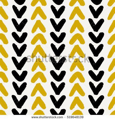 Hand drawn seamless chevron pattern in black, yellow and cream ...