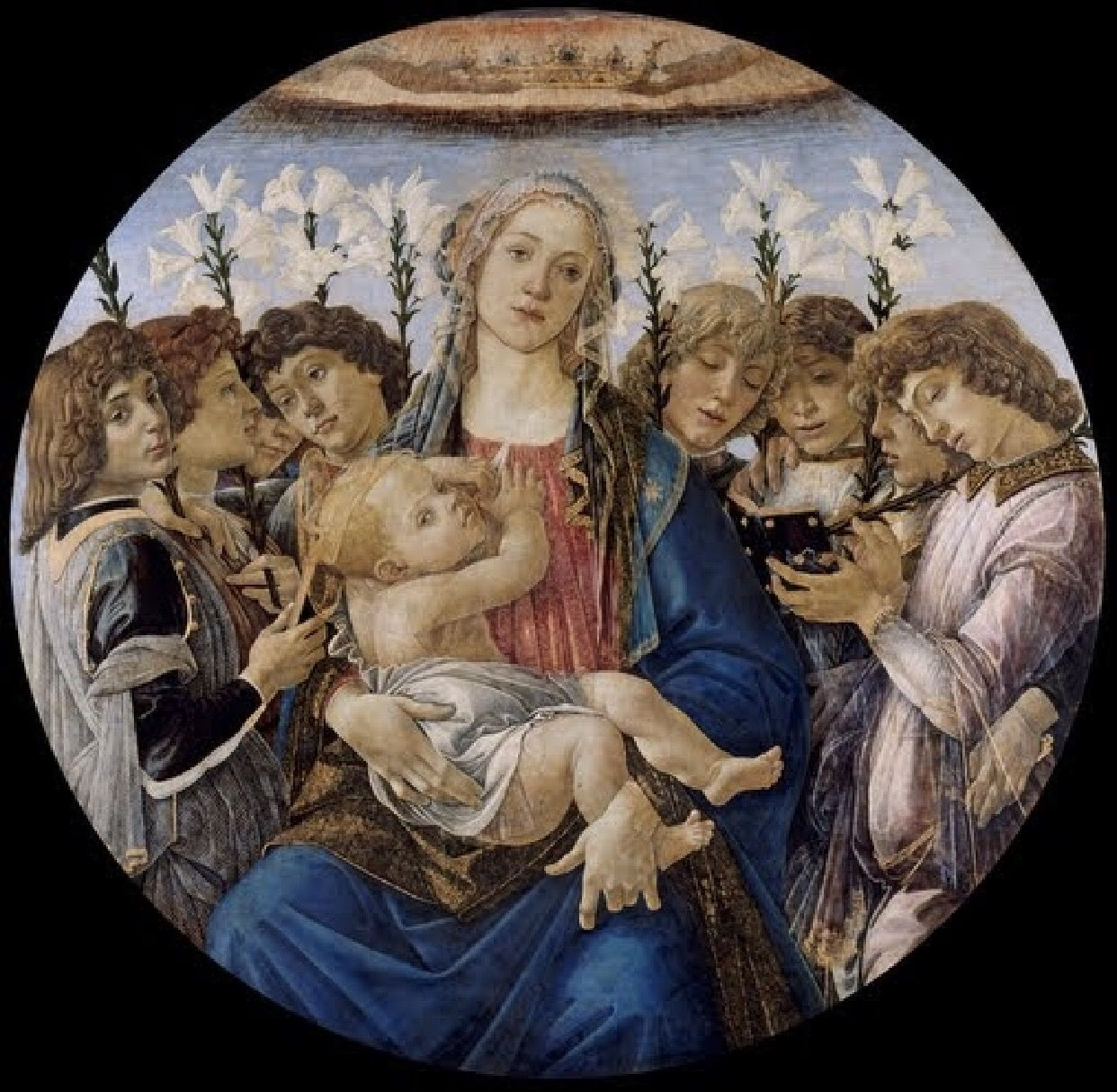 Title: Mary with the Child and Singing Angels  Creator: Sandro Botticelli  Date: 1477  Physical Dimensions: w135.0 x h135.0 cm  Type: Painting   Medium: Oil on poplar wood