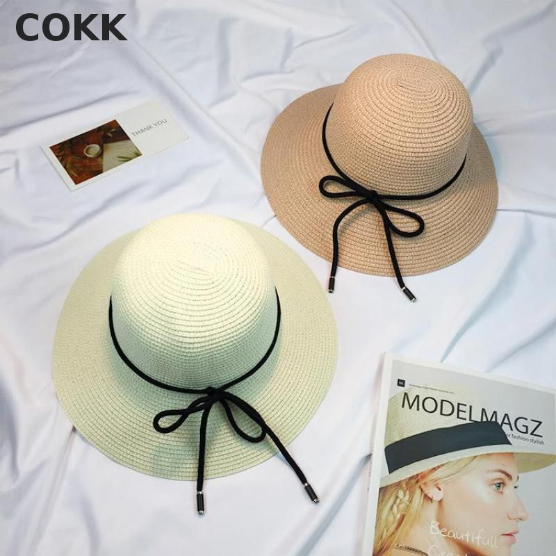 398ba982a1f COKK Summer Hats For Women Beach Sun Visor Hat Bow Ribbon Folding Straw Cap  Large Brimmed