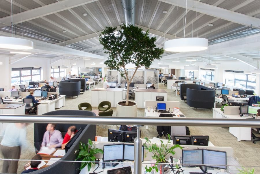 Stunning offices inside a warehouse building magna housing designed and fit out by interaction