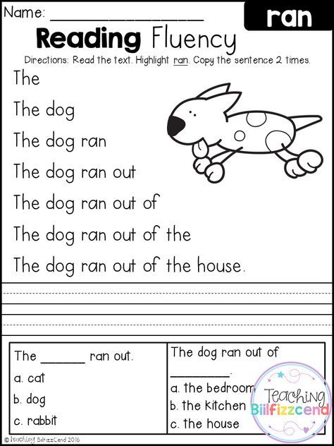 FREE Reading Fluency And Comprehension (Set 2) Kindergarten Reading  Worksheets, Free Kindergarten Reading, Reading Fluency
