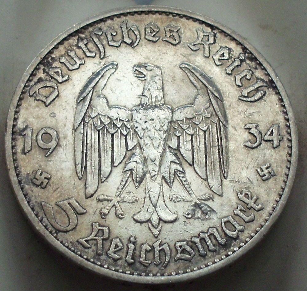 5 Mark German Silver Coin Ww2 1934 D Third Reich Swastika Reichsmark