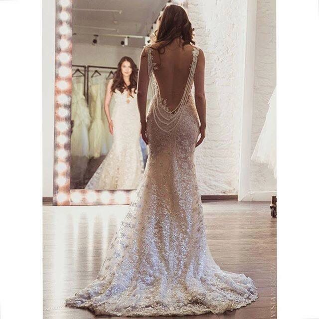 Love The Beads Hanging With The Low Back Wedding Dresses Wedding Dress Inspiration Bridal Gowns
