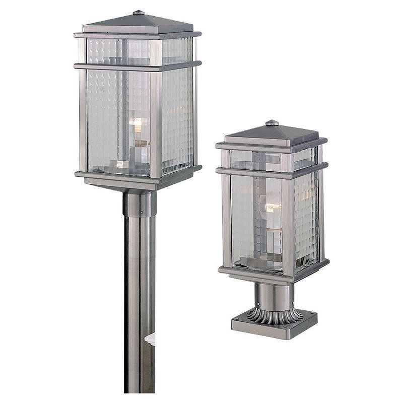 Feiss Ol3407 Craftsman Mission 1 Light Post Light From The Mission Lodge Colle Brushed Aluminum Outdoor Lighting Post Lights Single Head Post Lights Outdoor Post Lights Lantern Post Outdoor Lighting