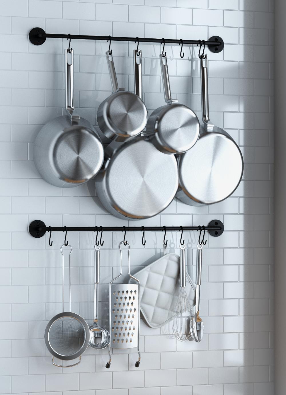Wallniture Cucina 24 Utensil Holder Rack With 10 S Hook Steel Black Set Of 2 Walmart Com Kitchen Pot Kitchen Organization Diy Diy Kitchen