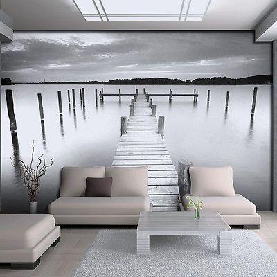 Bild Fototapete Tapeten Tapete Grau Poster Nebel Wasser Steg Natur