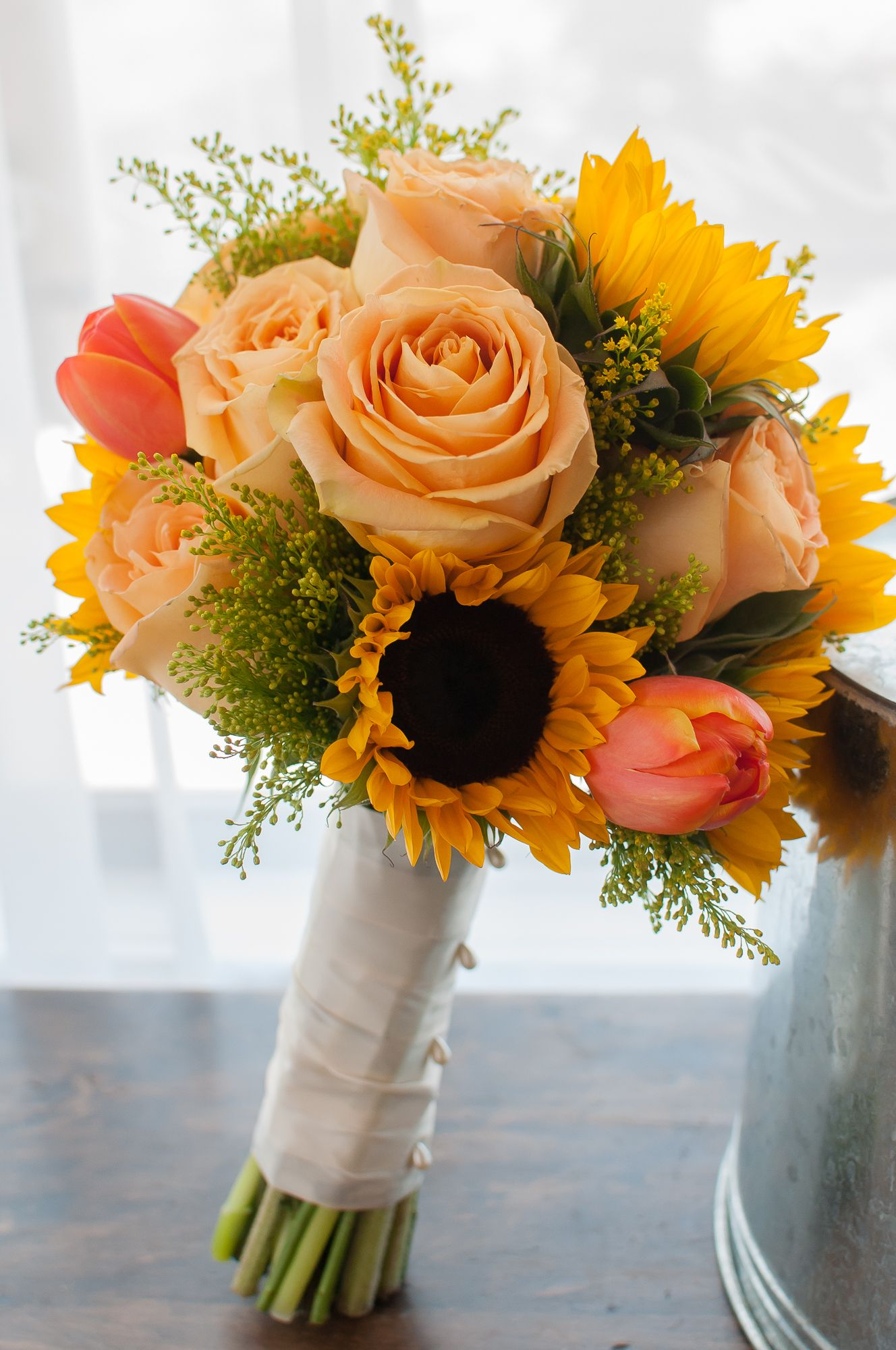 Bridal Bouquet Mix Of Sunflowers Tulips And Roses Photography