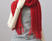MSD Red Ribbed Knitted Scarf with Fringe - BJD Accessory Basic knit