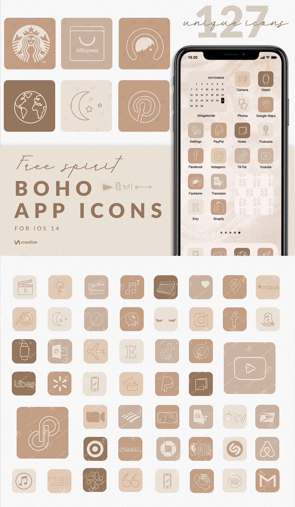 APP ICONS Free Spirit 127 ios14 Boho Aesthetic, Nude Neutral, App Covers, Icons Bundle