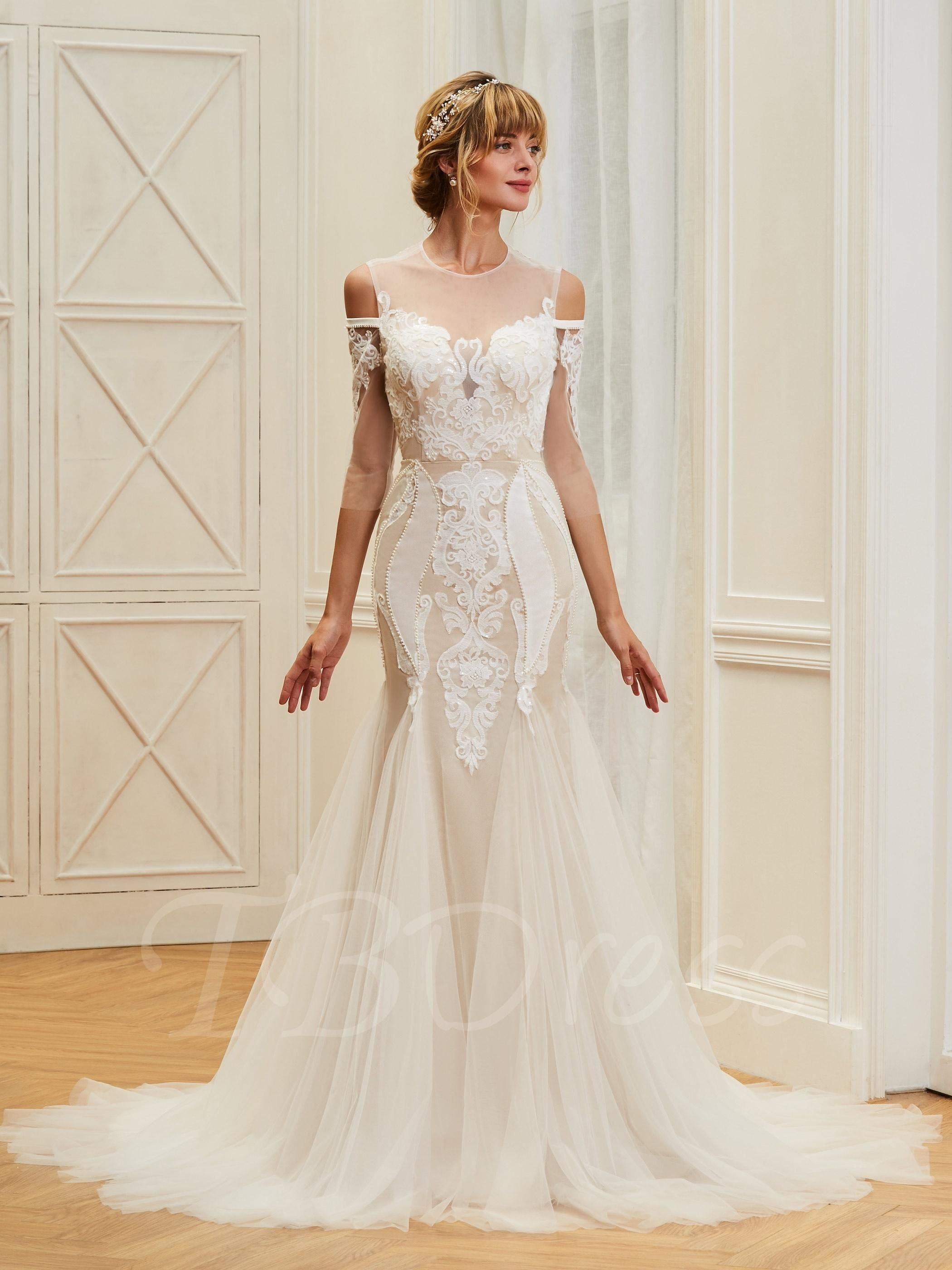 Illusion neck length sleeves mermaid backless wedding dress