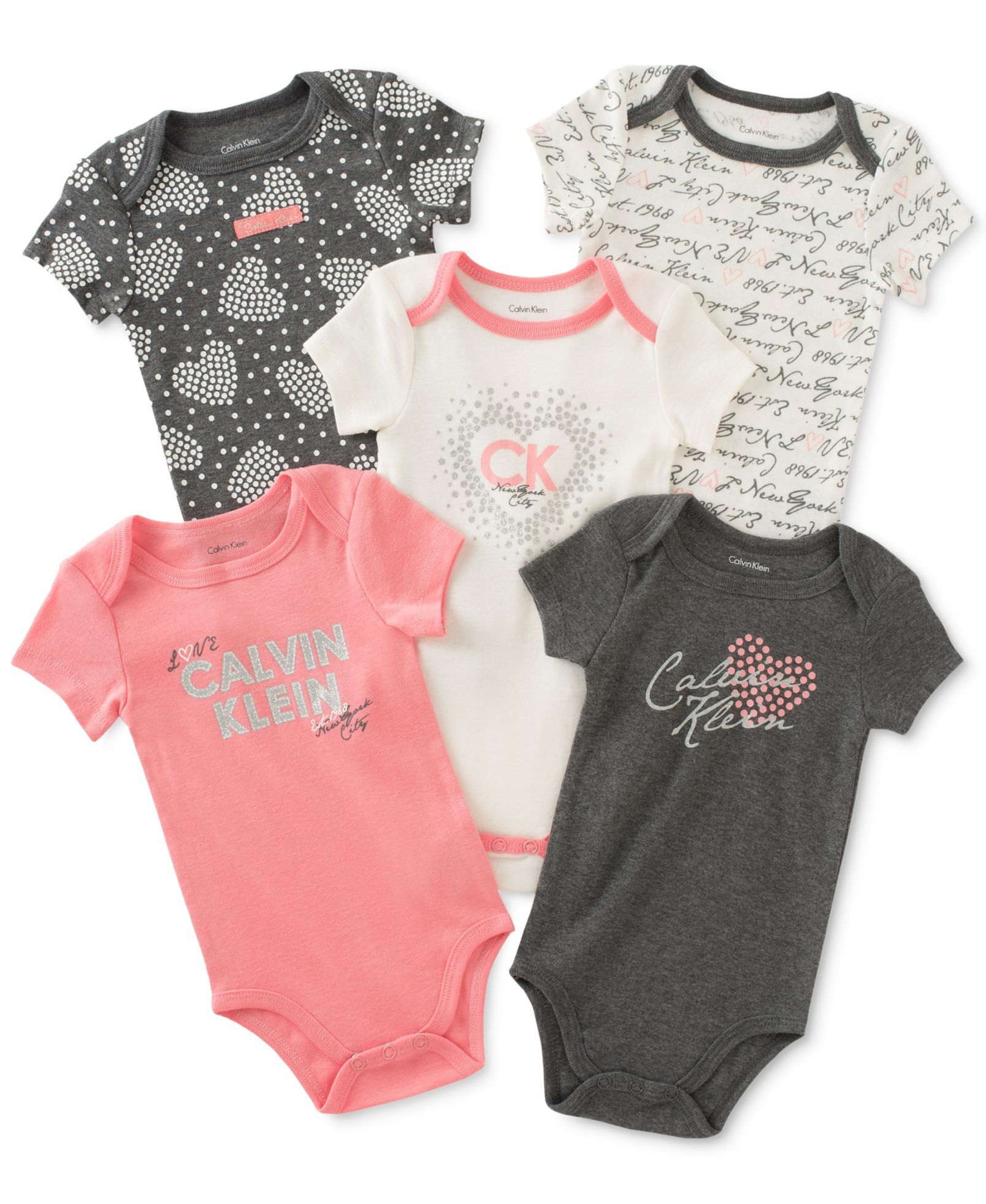 9ec72ee575 Macy s on Wondermall - Calvin Klein Baby Girls  5-Pk. New York City    Hearts Bodysuits