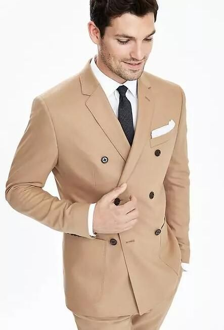 677e4ef467 Click to Buy << Latest Coat Pant Designs Champagne Double Breasted Men  Wedding Suit Custom Made Groom Slim Fit Suits 2 Pieces Masculino C  #Affiliate