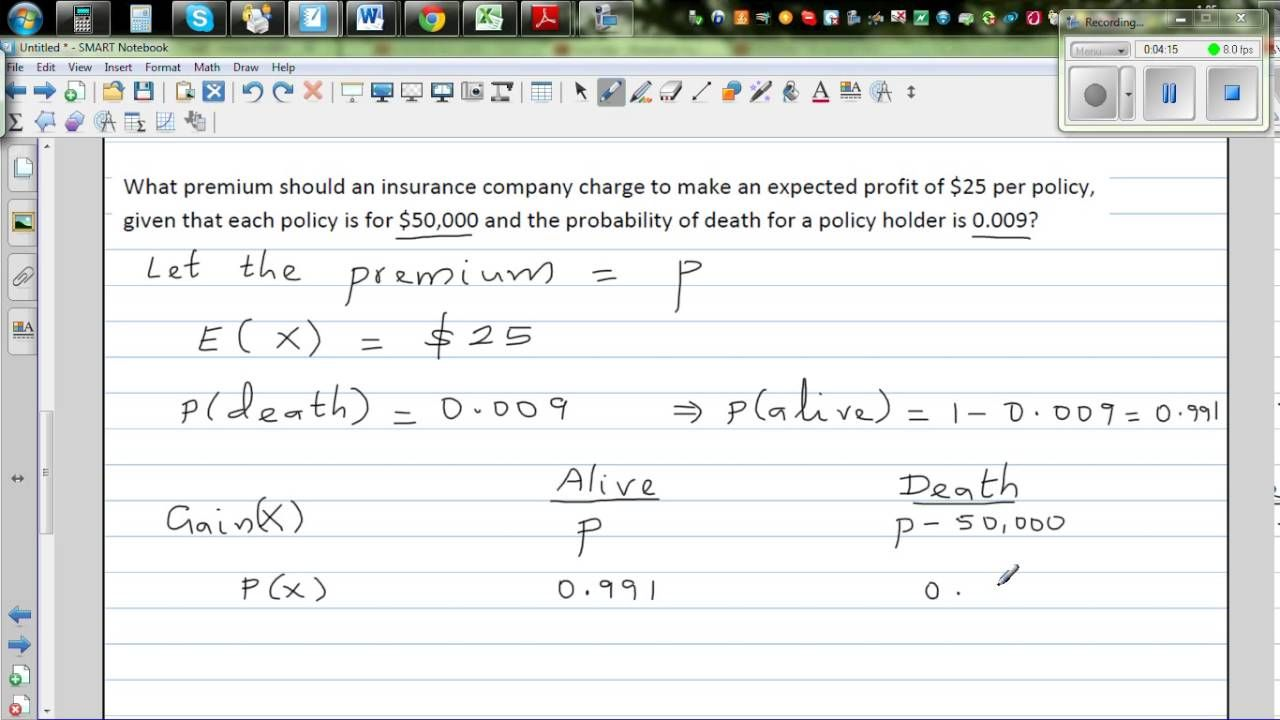 Application of expected value in calculating premium of