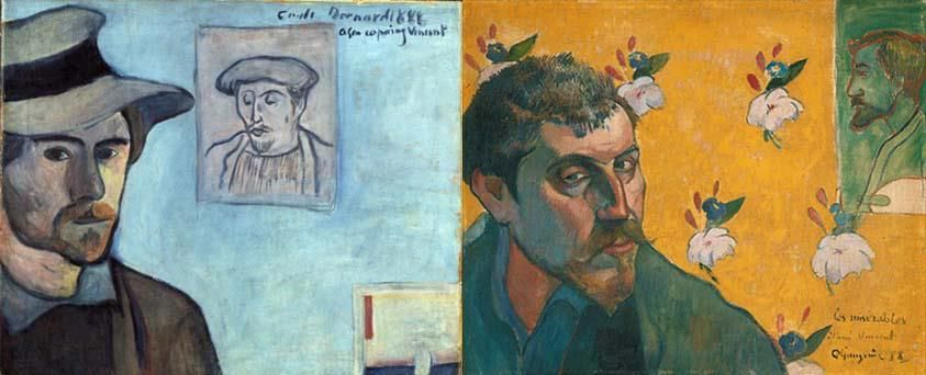 "Emile Bernard produced a self-portrait (left), which he inscribed with the text ""à mon copain Vincent"" and sent to Vincent. He painted this self-portrait including Gauguin in the background. Van Gogh was enthusiastic about it – ""a couple of simple tones, a couple of dark lines, but it is [as] elegant as a real, genuine Manet"". Gauguin also sent Van Gogh a self-portrait (right), which included a portrait of Bernard in the background. http://www.vangoghmuseum.nl/vgm/index.jsp?page=4739=en"