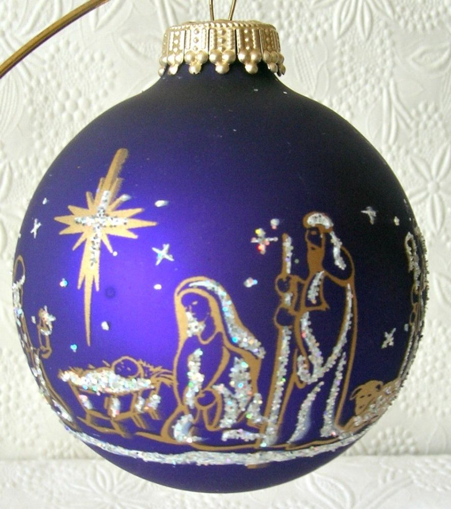4 Nativity Christmas Ornaments By Krebs Glass Cobalt Blue Christmas Ornaments Glass Christmas Ornaments Christmas Trimmings