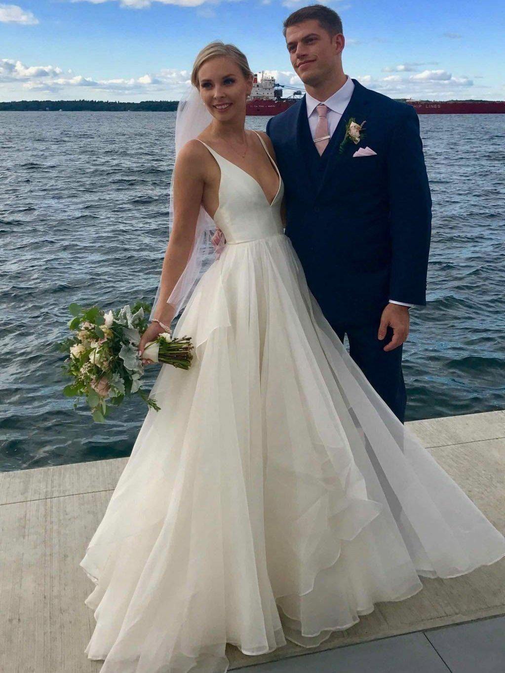 Casual wedding dresses with color  Spaghetti Strap Ivory Chiffon Beach Wedding Dresses Cheap V Neck