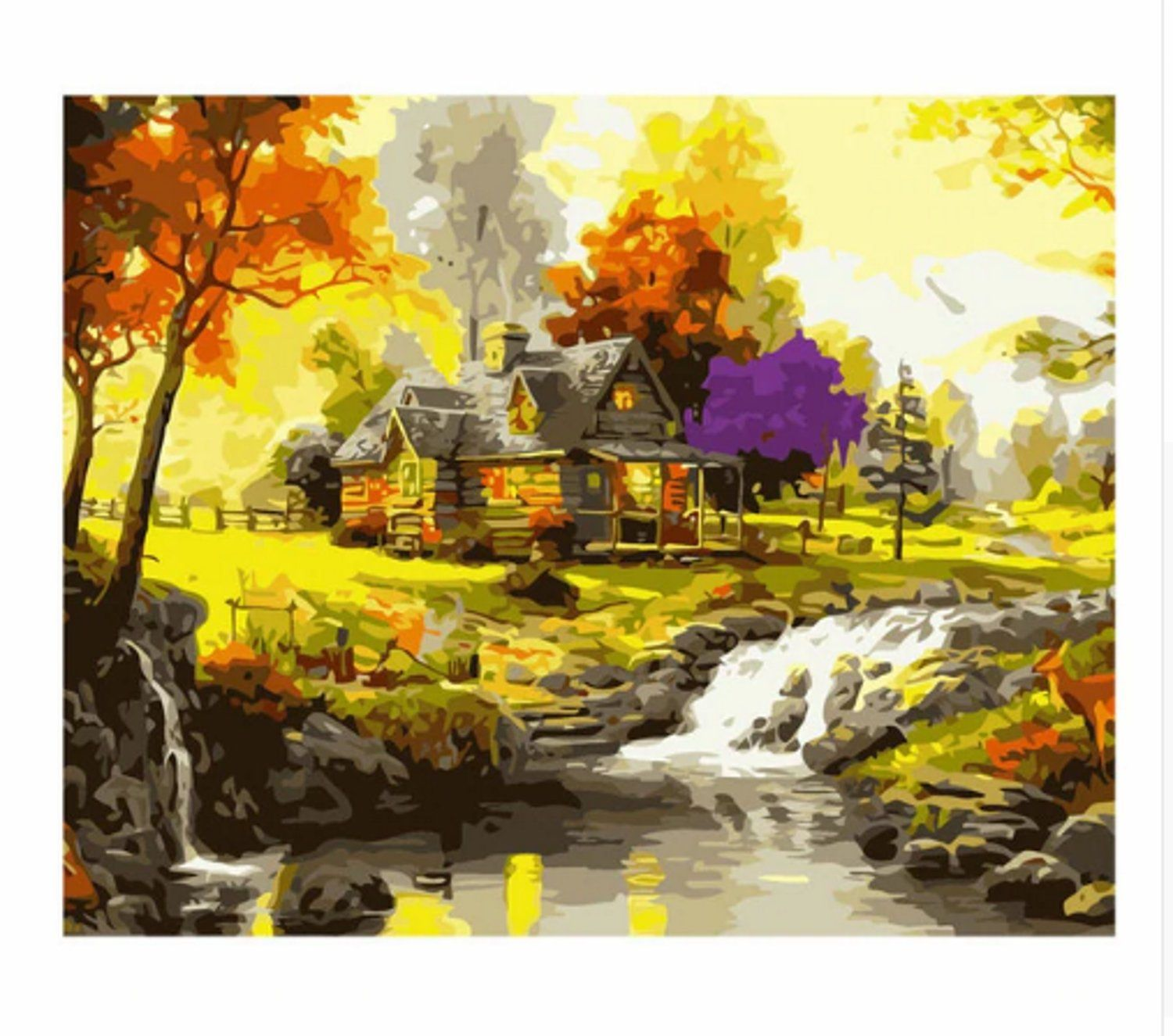 Cottage Landscape Paint By Number Kit Adult Country House Diy Kit