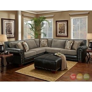 Beautiful Avanti Traditional Charcoal Black Sectional Sofa W/ Nailhead Accents 750