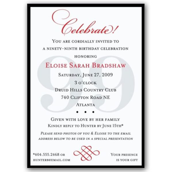 Classic 99th Birthday Celebrate Party Invitations