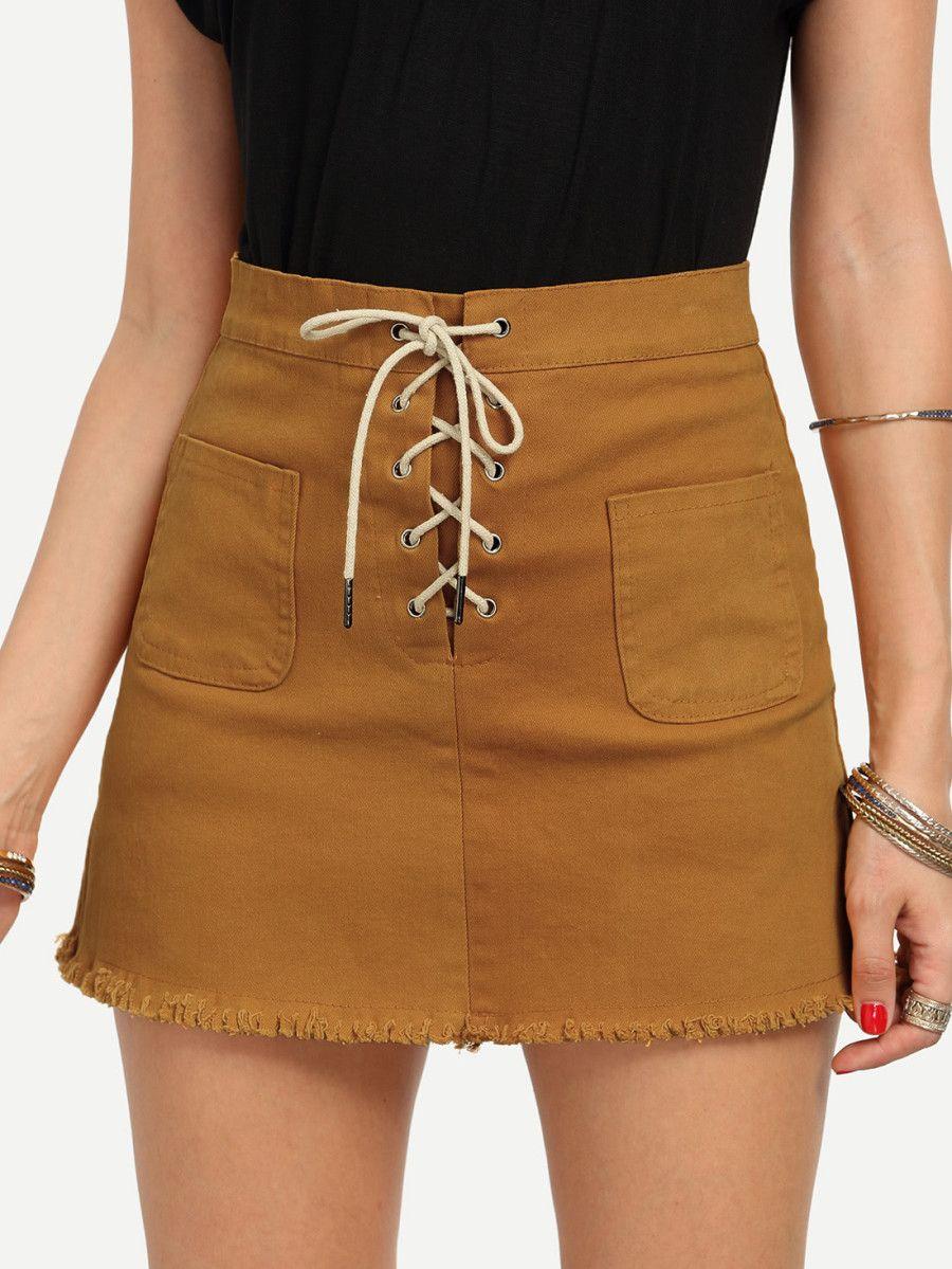 d3b149e8f6 Lace-Up Fly Dual Pocket Raw Hem Skirt - Yellow -SheIn(Sheinside ...