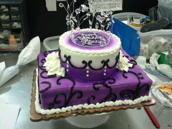 Purple Silver And Black 30th Birthday Cake Was Made For Someone