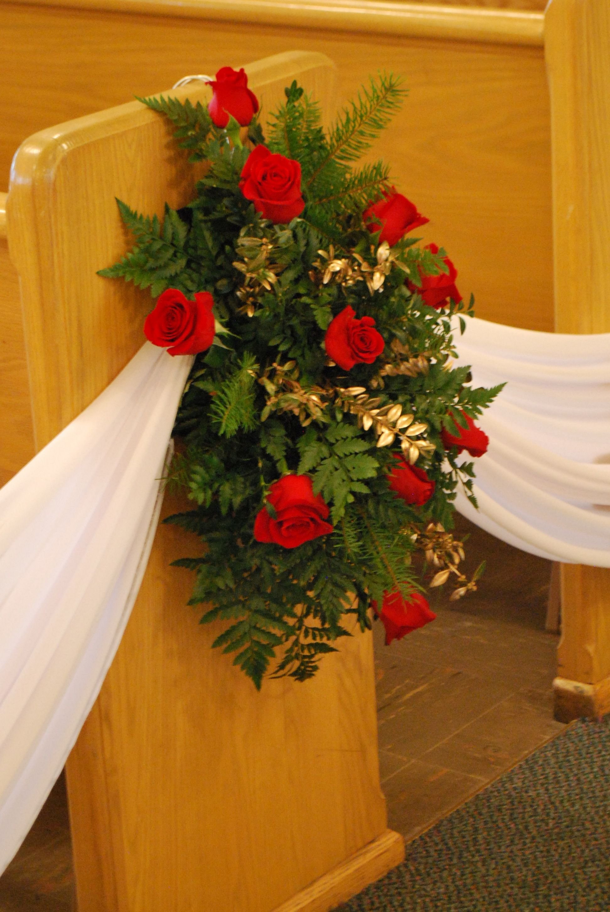 Church decoration... a flower arrangement on every other