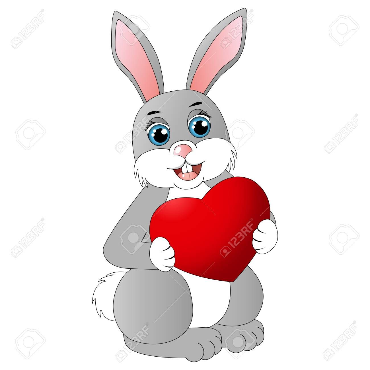Cute Cartoon Rabbit Holding Heart Sponsored Cartoon Cute Rabbit Heart Holding In 2020 Rabbit Cartoon Cute Cartoon Cartoon
