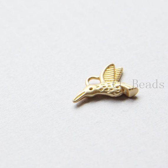 4pcs Matte 16K Gold Plated Brass Base CharmsHummingbird by clbeads, $4.15