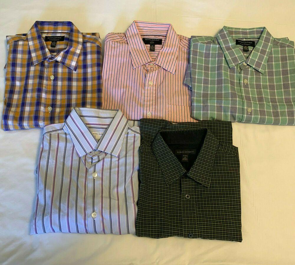 Lot of 5 Men's Banana Republic Button Long Sleeve Shirts M