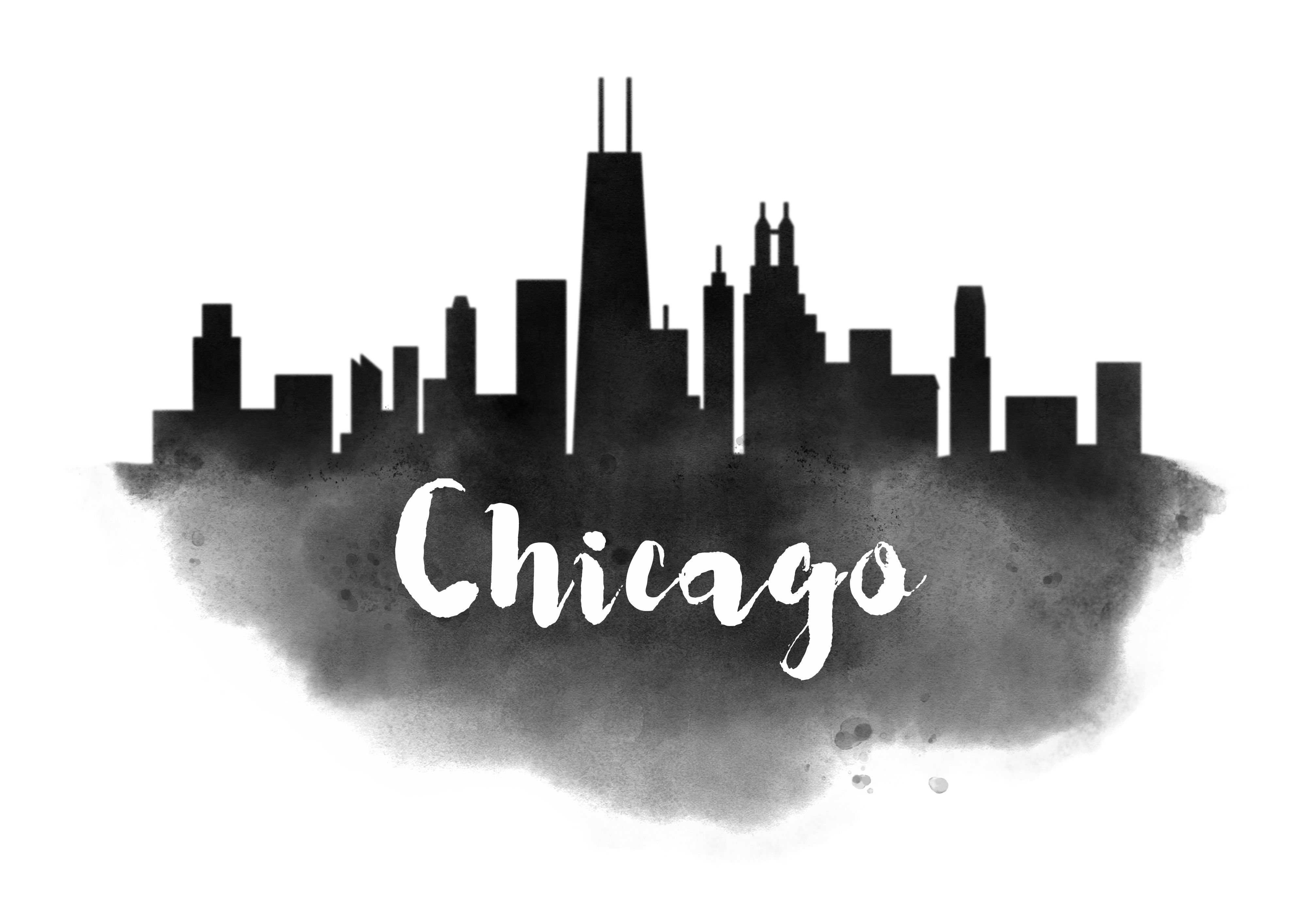54 watercolor usa city silhouettes chicago skyline