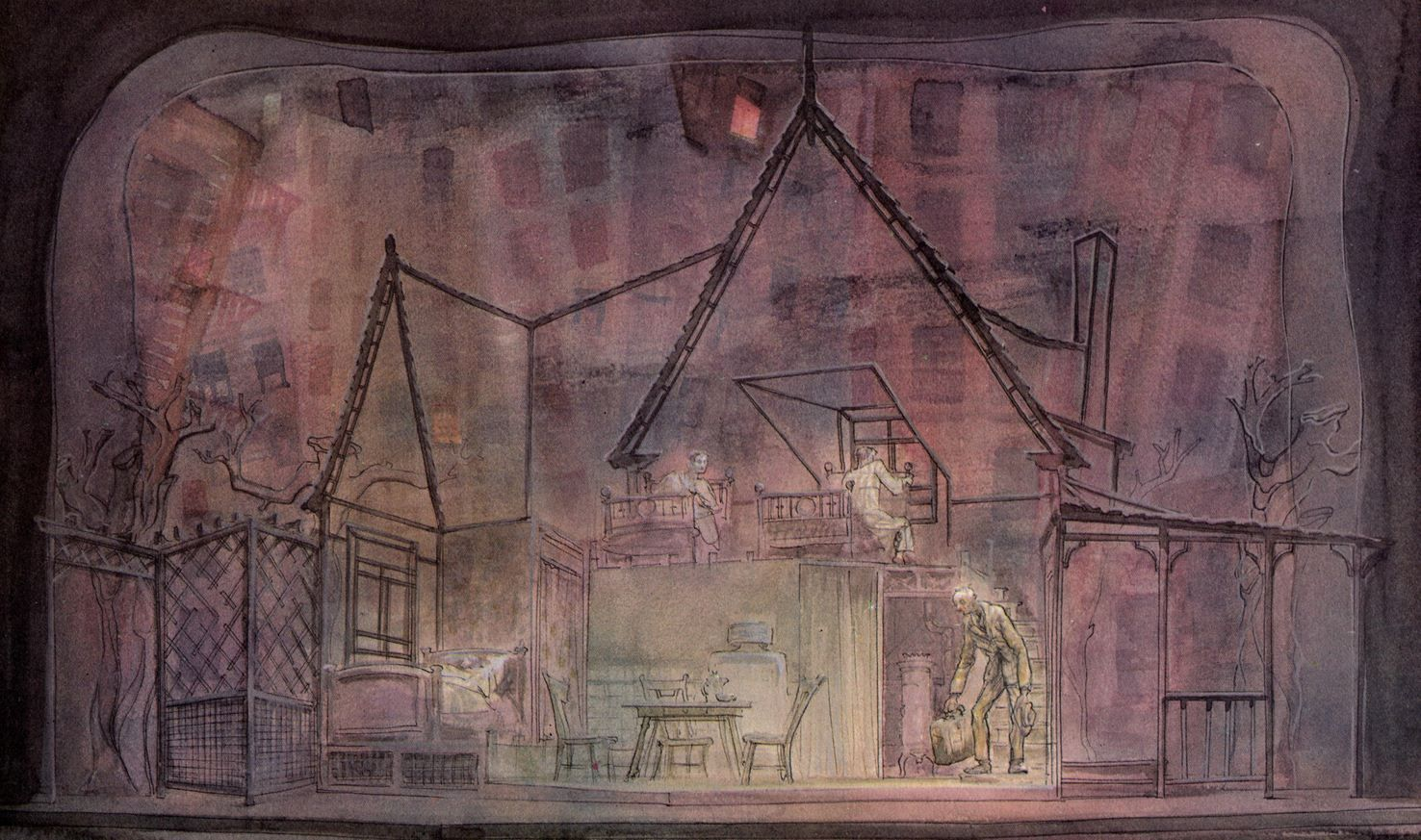 Jo Mieziner's rendering for his set design for 'Death of a Salesman.'