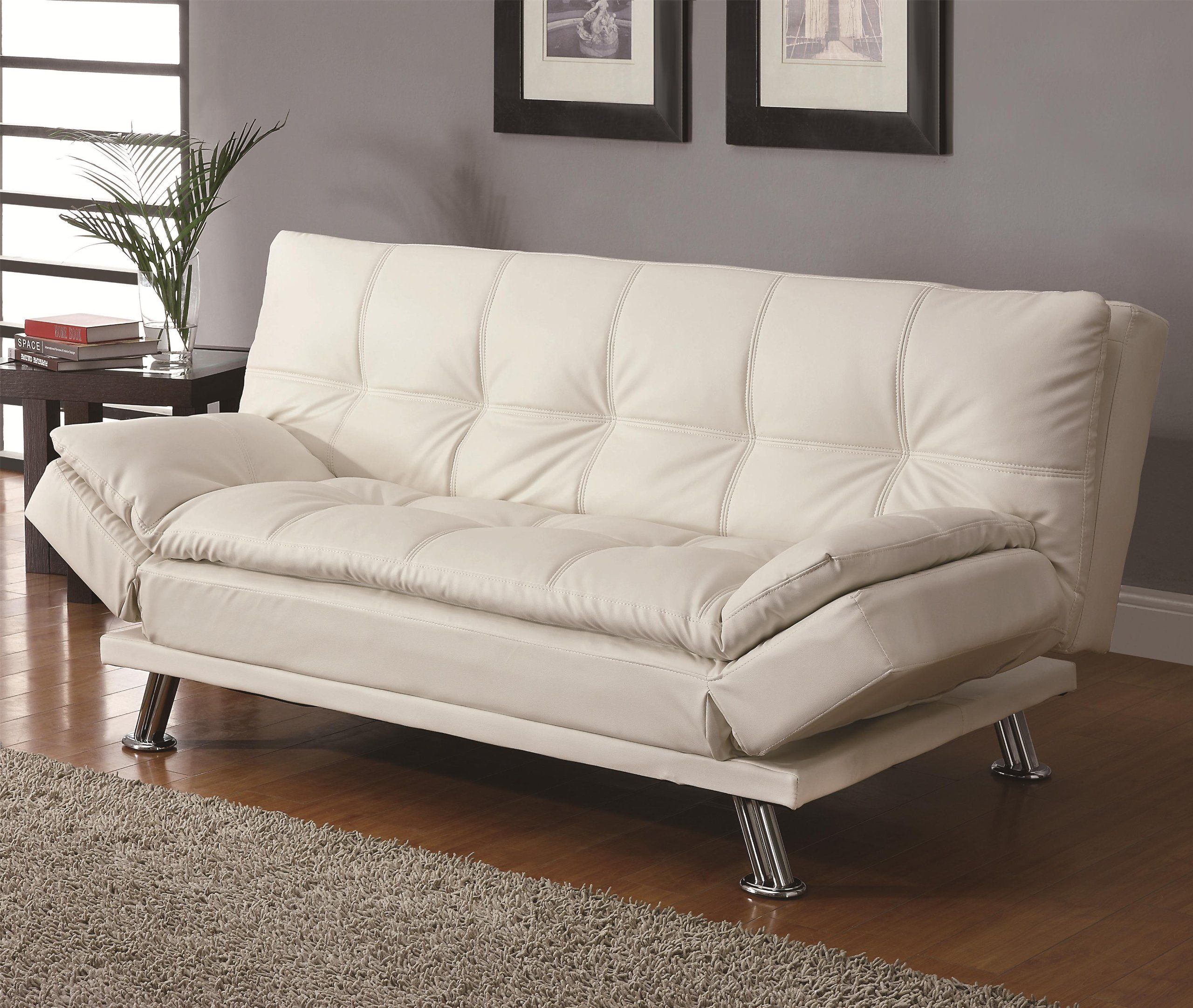 Amazon - Contemporary White Adjustable Futon Sofa Bed - Leather Futon  Sofa Bed