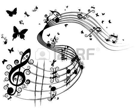 Vektor Musikalischen Notizen Personal Hintergrund Fur Design Verwenden Schmetterling Musik Tattoo Noten Musik Tattoo Ideen