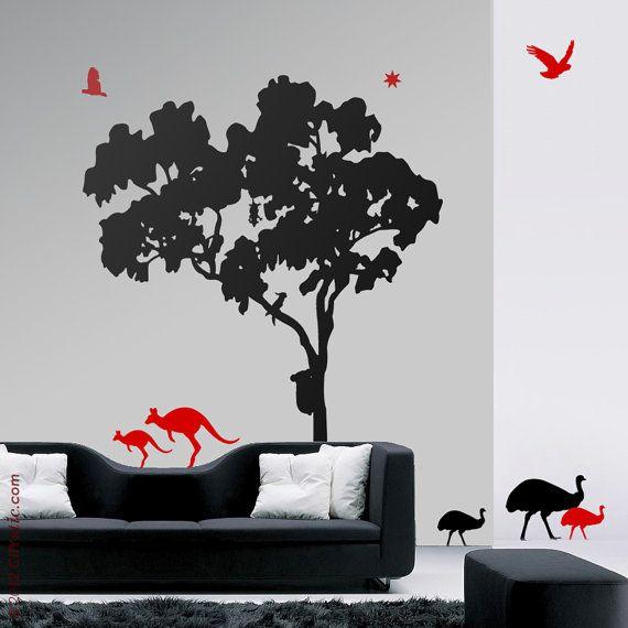 Tree Wall Stickers Australia Part - 43: On Sale AUSTRALIA Tree WALL DECAL : Gum Tree (Eucalyptus) Animals  (kangaroos,