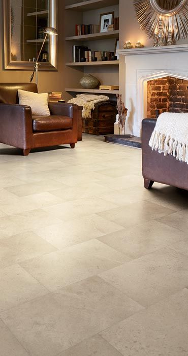stylist and luxury tile floor designs for living rooms. Vinyl tiles  This Limestone design is offset beautifully by the classical styling of living room The