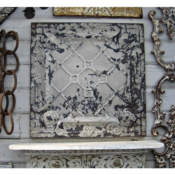 Antique Ceiling Tin Tile Vintage Art Wall Decor Old Chippy Paint