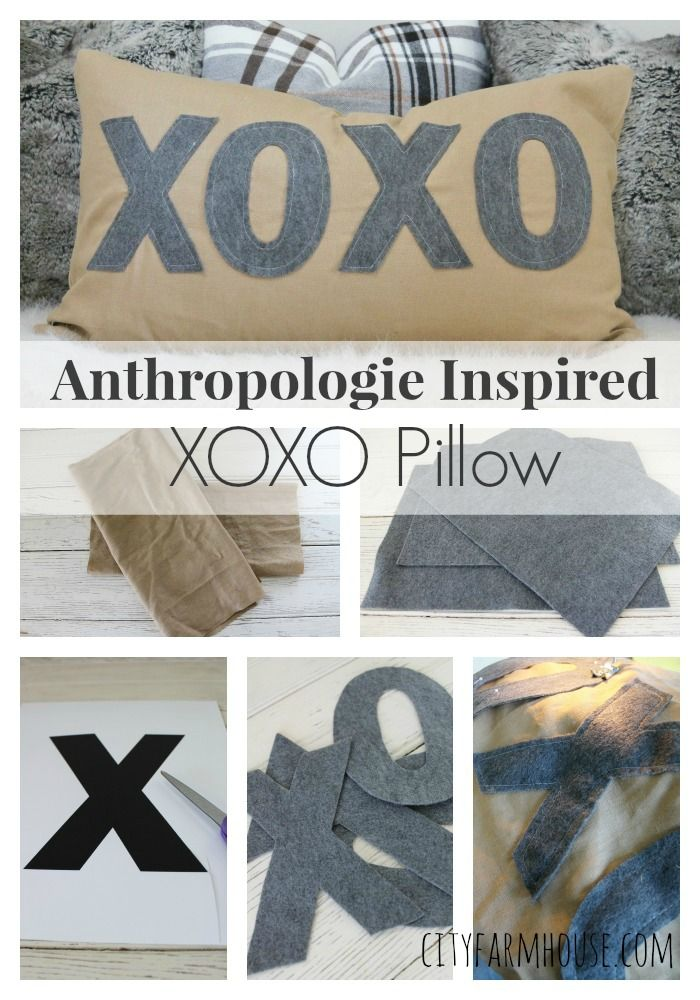 anthropologie inspired pillow xoxo city farmhouse felt letters washed linen collage