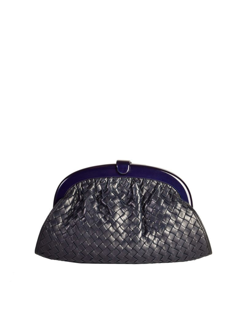 50cce3124ce Bottega Veneta Vintage Intrecciato Navy Blue Woven Leather Clutch Bag -  from Amarcord Vintage Fashion